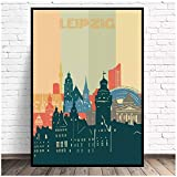 Leipzig City Retro Cityscape Art Canvas Poster Print Decoración para el hogar Pintura Decoración de pared para dormitorio Chica Adolescente Canvas-50x70cm Sin marco